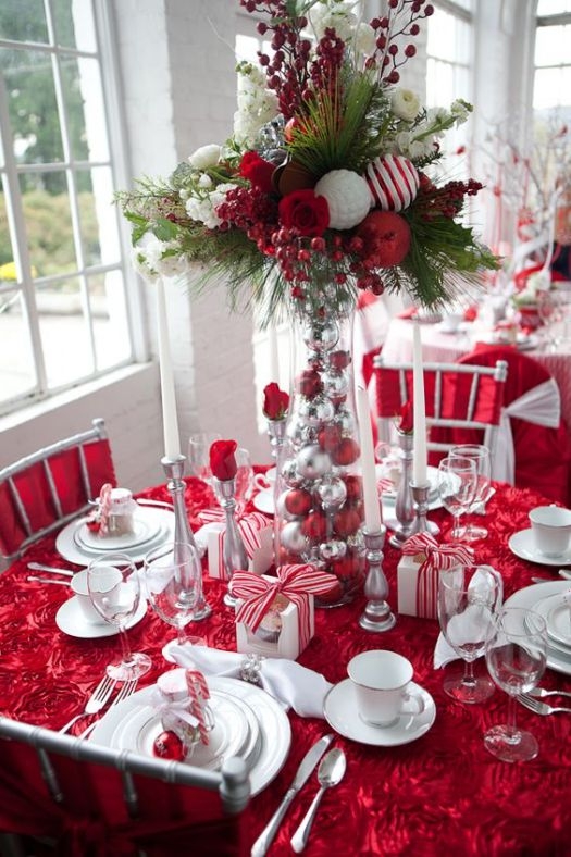red Christmas table setting idea