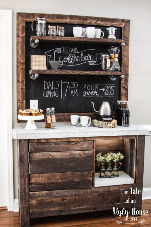 Rustic coffee bar decoration idea #rustic #rusticdecor #rusticfarmhouse #homedecor #decoratingideas #decorhomeideas