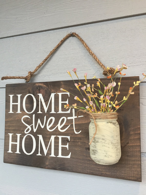 rustic home sweet home wood sign