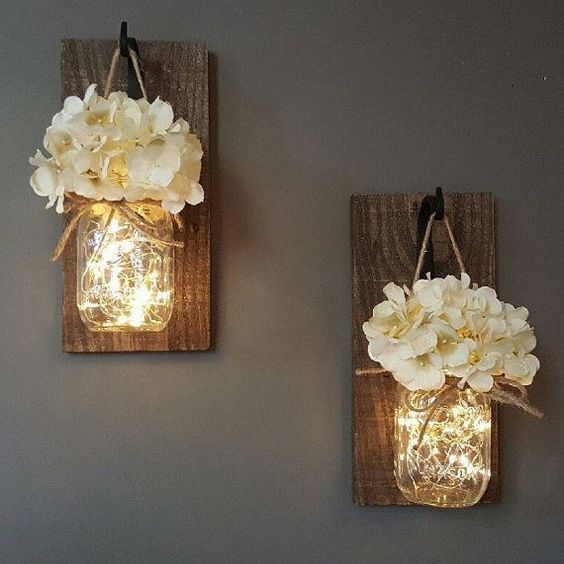 Rustic mason jars lamps decor ideas #rustic #rusticdecor #rusticfarmhouse #homedecor #decoratingideas #decorhomeideas