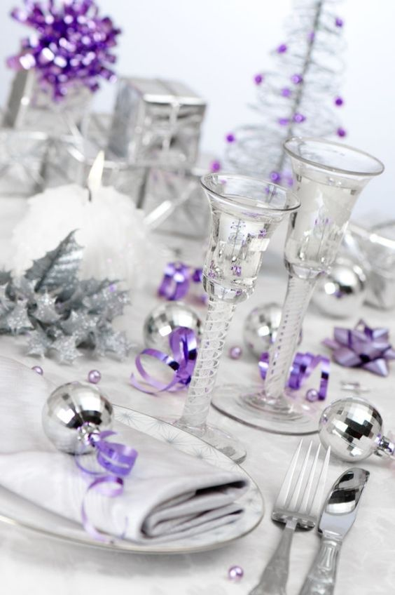 silver and purple Christmas table setting