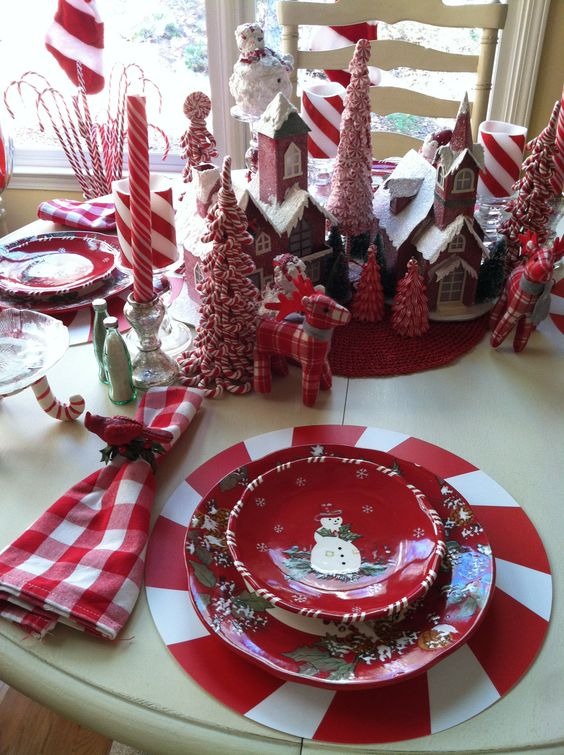 Snowman Christmas table setting idea #xmas #x-mas #christmas #tablesetting #homedecor #decoratingideas #centerpieces #festive #decorhomeideas