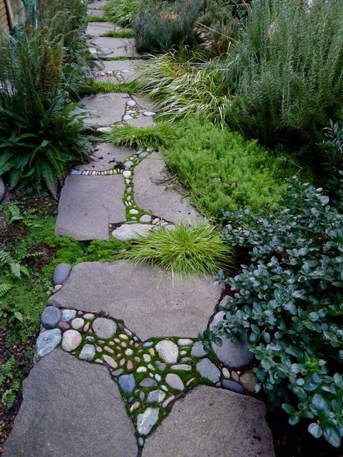 stone mosaic garden path idea