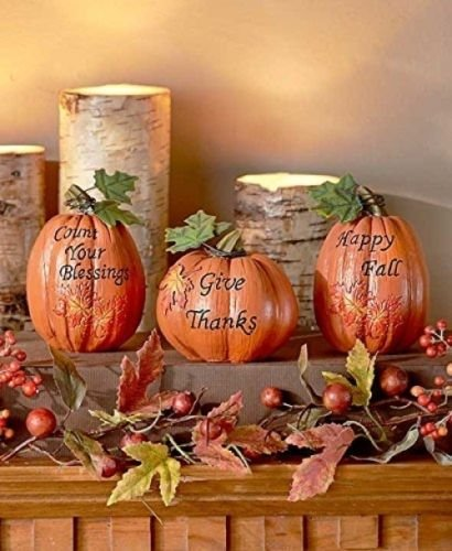 Pumpkins Thanksgiving decor #thanksgiving #falldecor #falldecorideas #festive #homedecor #decoratingideas #pumpkin #fall #decorhomeideas