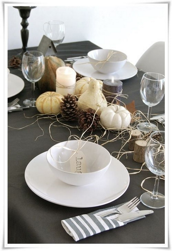 Thanksgiving table decor with candles
