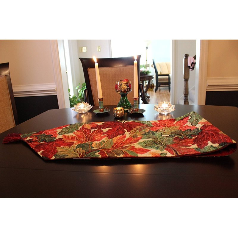 Thanksgiving table decor with red cover