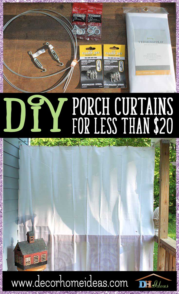 DIY Porch Curtain For Less Than 20 | Step by step instructions on DIY porch curtains, materials and tools. #diy #diyproject #porch #homedecor #decoratingideas #decorhomeideas #curtain #decor