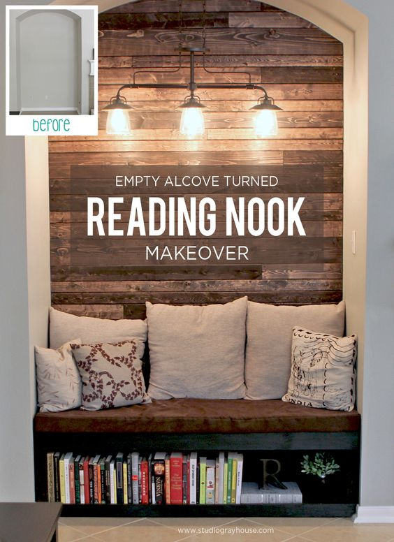 DIY tips on reading nook makeover #readingnook #nook #readingcorner #decoratingideas #homedecor #cozynook #decorhomeideas