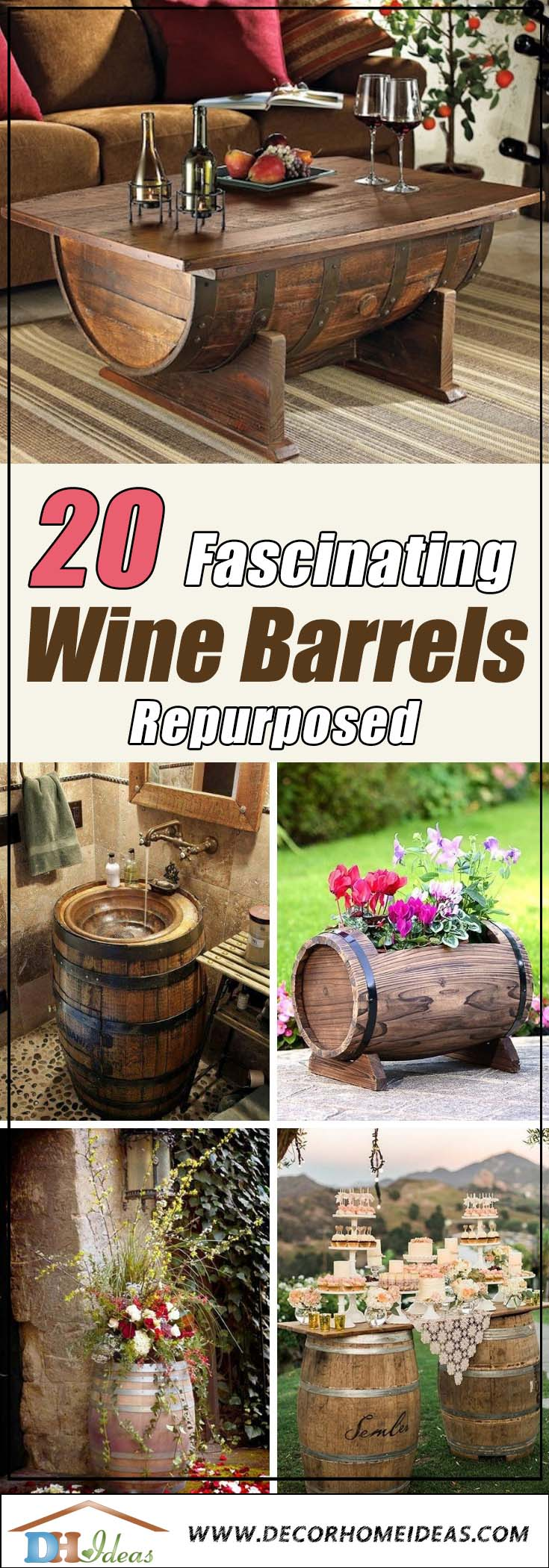 20 Truly Fascinating Ways To Repurpose Old Wine Barrels Title | Create stunning decoration with old wine barrels #winebarrel #repurposed #diy #barrel #decoratingideas #homedecor #decorhomeideas