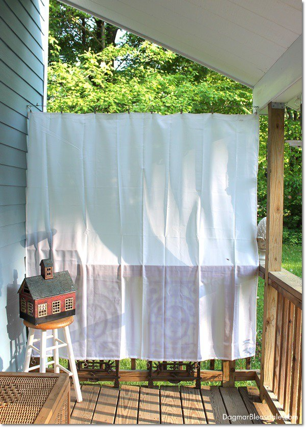 Diy porch curtains with shower liners finished project #diy #diyproject #porch #homedecor #decoratingideas #decorhomeideas #curtain #decor