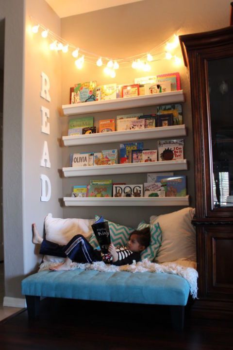 Reading nook for kids to read and rest #readingnook #nook #readingcorner #decoratingideas #homedecor #cozynook #decorhomeideas