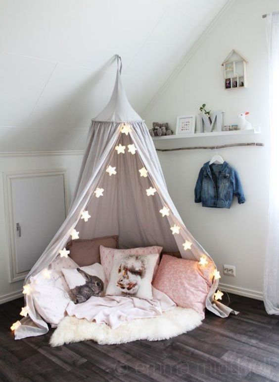 Canopy reading nook for kids or living room #readingnook #nook #readingcorner #decoratingideas #homedecor #cozynook #decorhomeideas