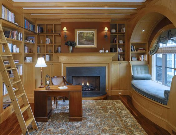 Cozy reading nook complimented with a fireplace