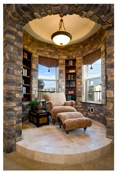 Reading nook in a rustic decor with wood and stone