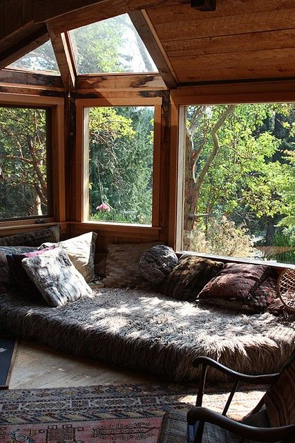 Reading corner with a shaggy bed