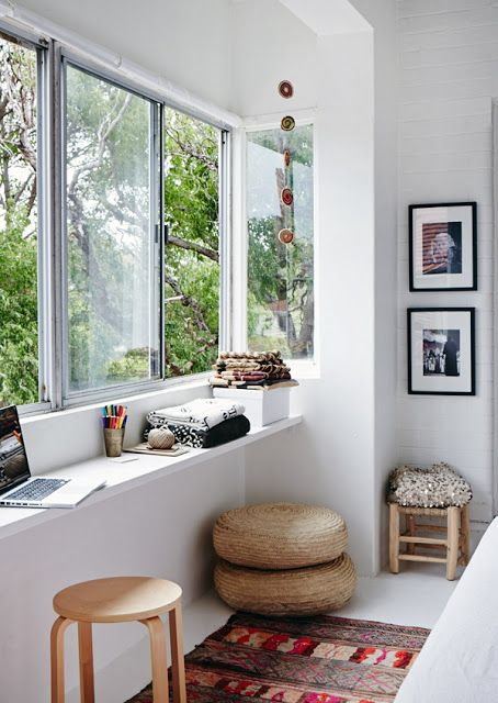 Bright window seat reading to nook to relax