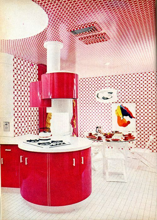 Red 70s kitchen design