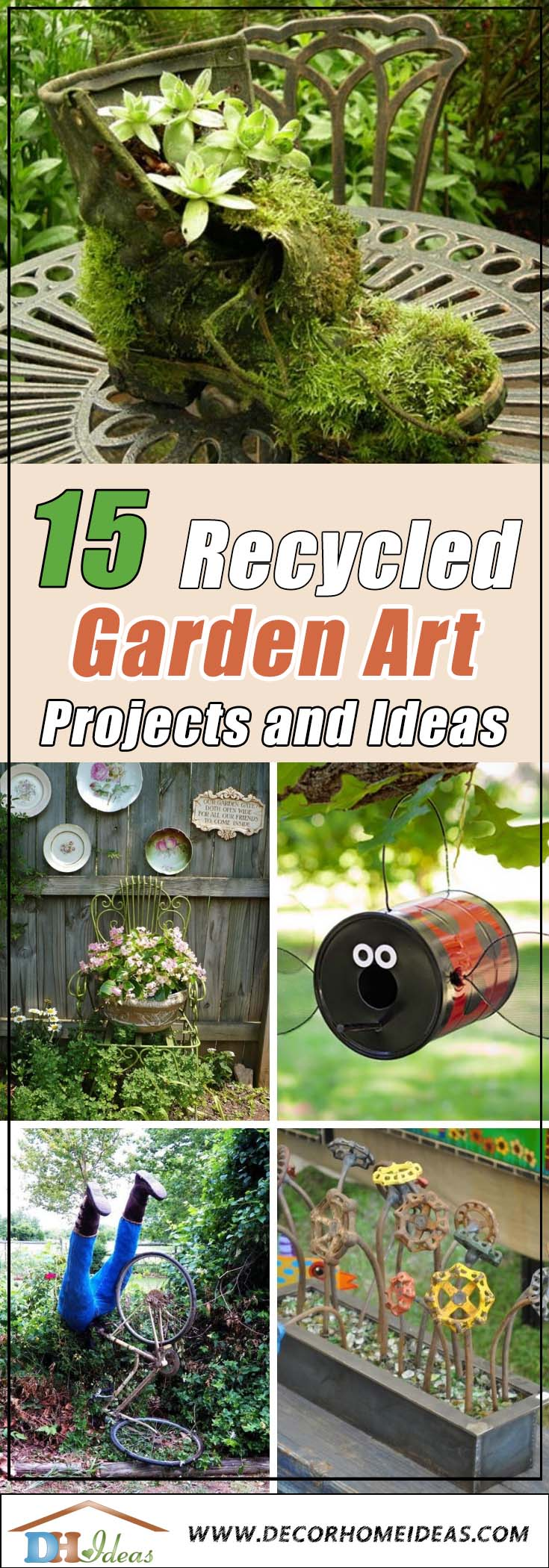 15 Awesome DIY Recycled Garden Art Projects | Best recycled art garden ideas, DIY and projects. Creative themes and designs #diy #gardens #recycled #gardening #gardenideas #gardeningtips #decorhomeideas