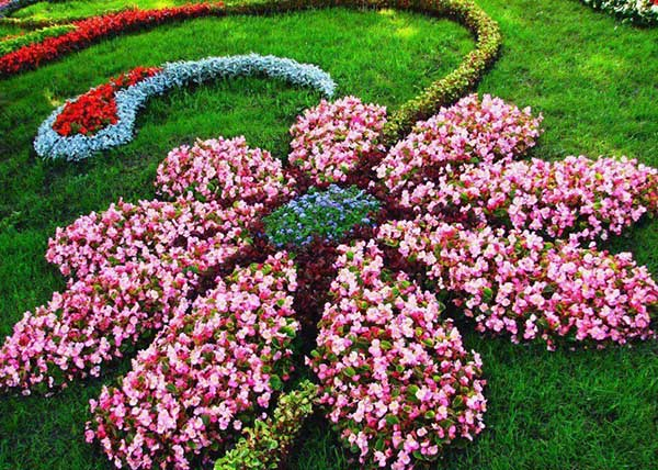 Flower Shaped Floral Garden Bed Layout #flowerbed #gardens #decorhomeideas