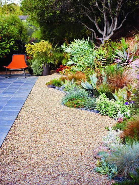 Gravel Yard with Plant Bed #droughttolerant #landscaping #garden #decorhomeideas