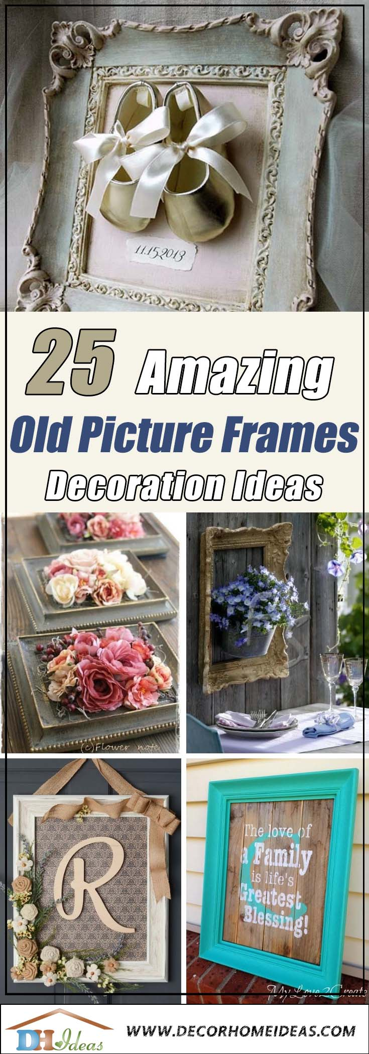 25 Amazing Creative Ways To Use Old Picture Frames | Creative ideas, projects and DIY with old picture frames. #diyproject #diy #makeover #decor #decoration #pictures #frames #vintage #decorhomeideas