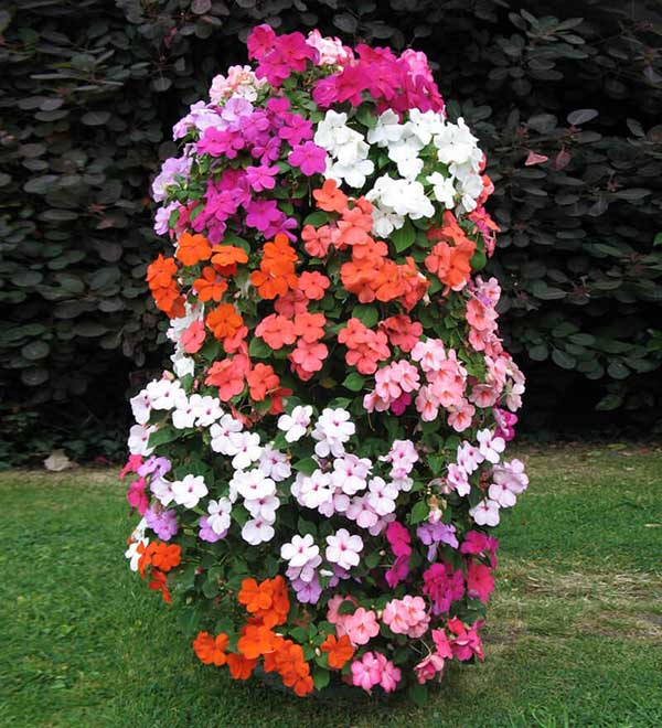 Vertical flower bed idea with small colorful flowers #flowerbed #flowerpot #gardens #gardenideas #planter #gardeningtips #decorhomeideas