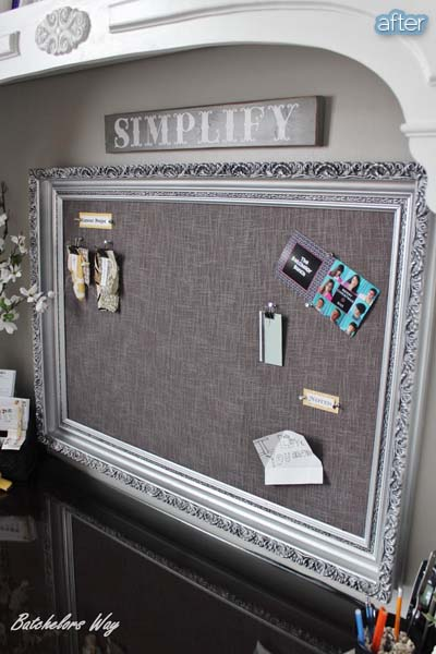 Cork board made of old picture frame #diyproject #diy #makeover #decor #decoration #pictures #frames #vintage #decorhomeideas
