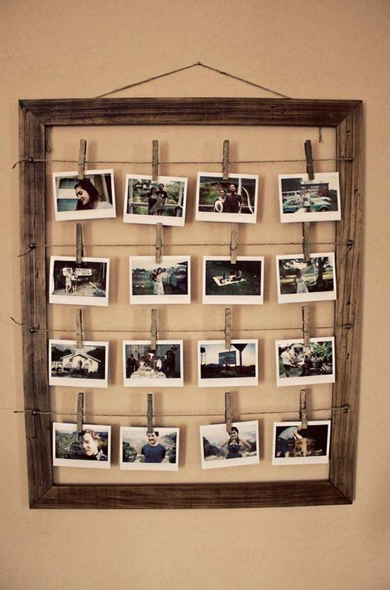 Photo display for photos from old picture frame #diyproject #diy #makeover #homedecor #decorationideas #pictures #frames #vintage #decorhomeideas