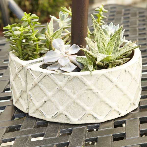2 pieces white stone flower pot idea #flowerpot #planter #gardens #gardenideas #gardeningtips #decorhomeideas