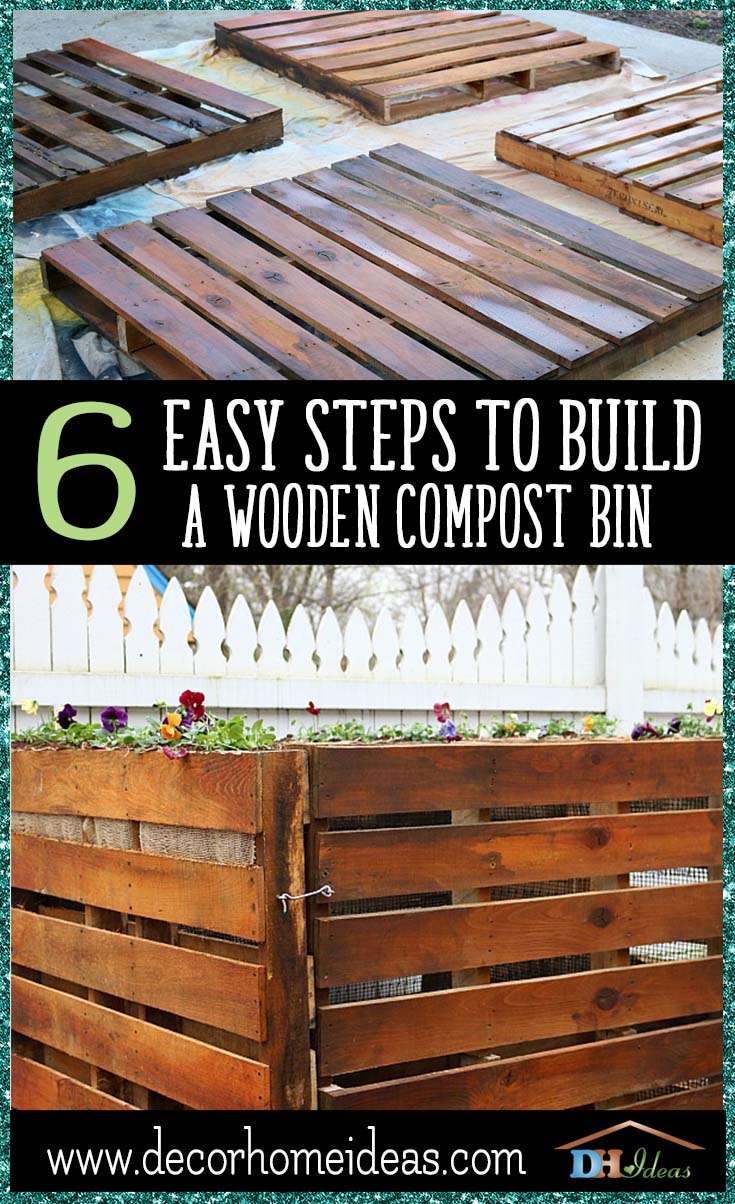 6 Easy Steps To Build Wooden Compost Bin | How to build a wooden compost at home with easy to follow 6 steps. #diy #compost #wooden #gardeningtips #backyard #flowers #decorhomeideas