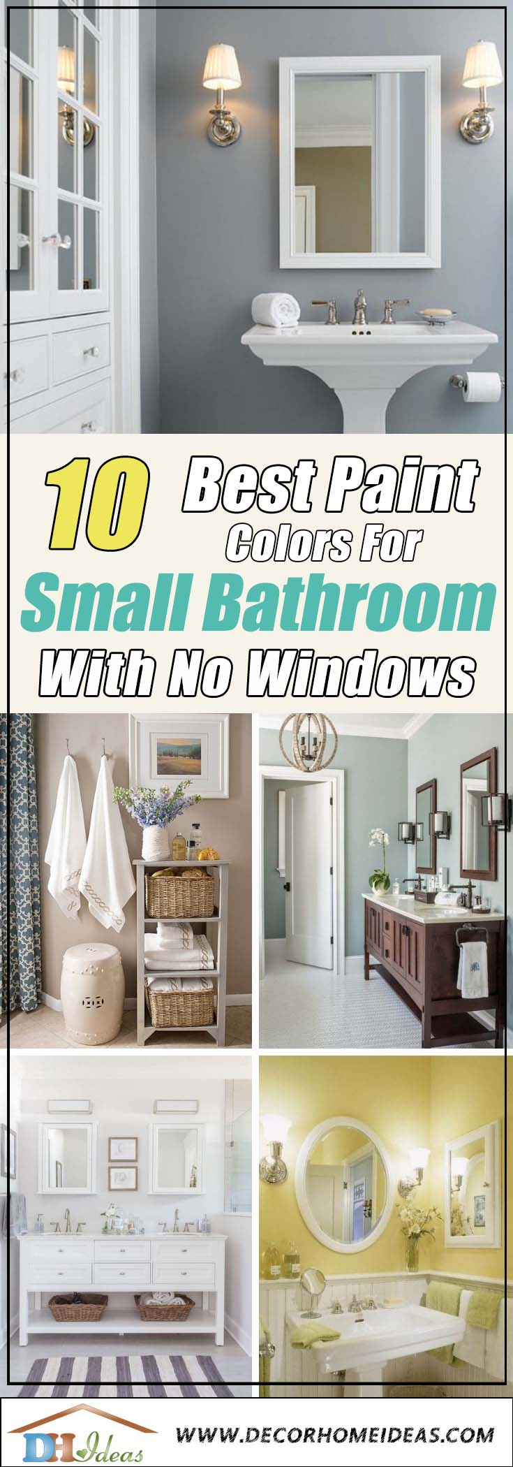 10 Best Paint Colors for Small Windowless Bathroom | Colors, paints, trends and best ideas and decoration tips on bathroom and small bathrooms witn no windows. #bathroom #bathroomdesign #bathroomremodel #bathroomideas #color #decor #paint #furniture #trends #decorhomeideas