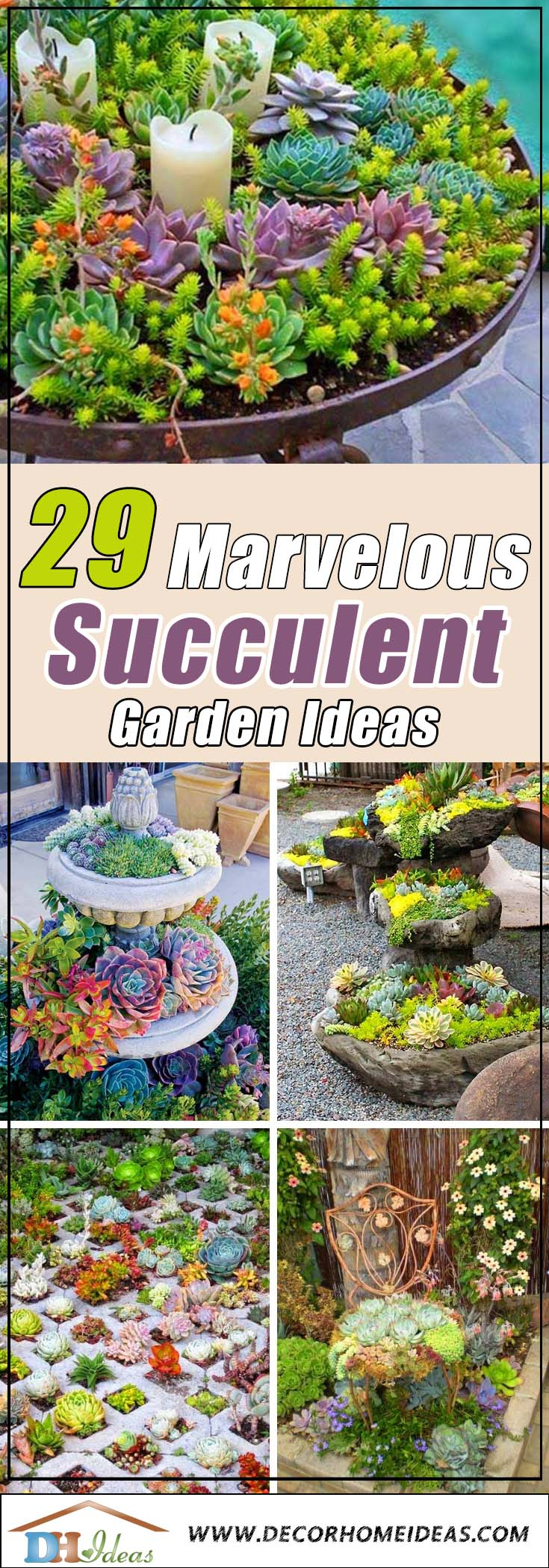 29 Marvelous Succulent Garden Ideas | Succulents tips, ideas and arrangements. Garden ideas, planters, flower pots and backyard ideas. #succulent #succulentlove #garden #gardenideas #flowers #planters #backyard #lawn #decor #tips #ideas #decorhomeideas