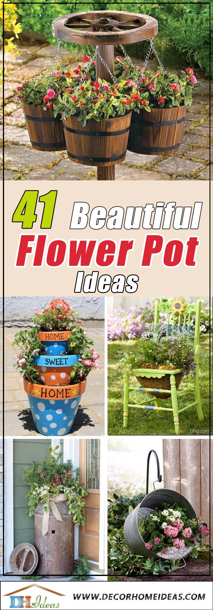 41 Beautiful Flower Pot Ideas | Best flower pots and planters ideas and arrangements. #flowerpot #flowerplanter #garden #flowers #pots #plants #ideas #backyard #yard #decorhomeideas