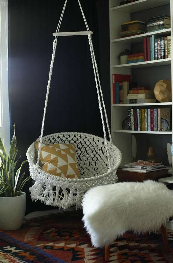 DIY Hanging Macramé Chair Bedroom Teenage Girl #chair #teen #bedroom #decor #hanging