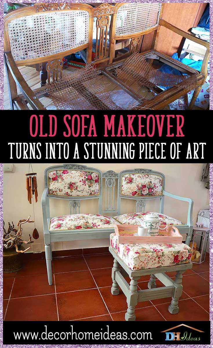 Old Sofa Makeover Turns Into a Stunning Piece Of Art | Full step by step DIY tutorial how to makeover and old sofa, tools and materials. #makeover #diy #sofa #furniture #sofaideas #old #decorhomeideas