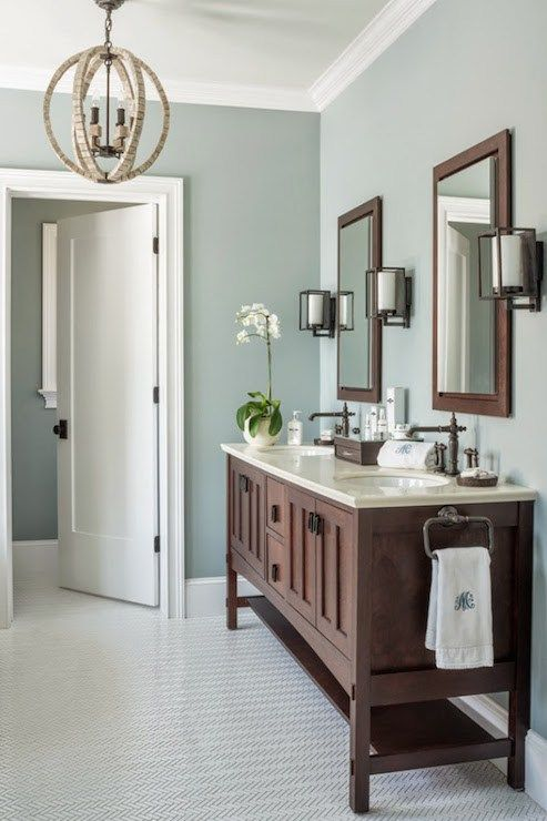 Blue gray bathroom paint color. Blue gray bathroom ideas. #bathroom #bathroomdesign #bathroomdecor #bluegray #decorhomeideas