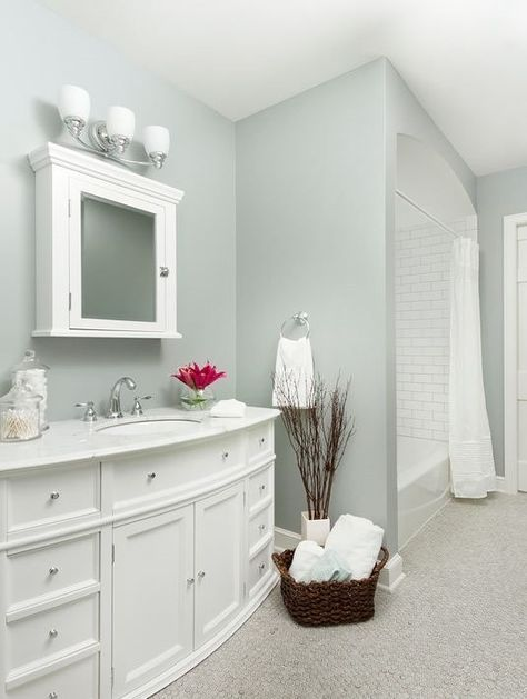 Booth bay paint color no window bathroom. #bathroom #bathroomdesign #bathroomideas #bathroomreno #bathroomremodel #decorhomeideas #paint #color