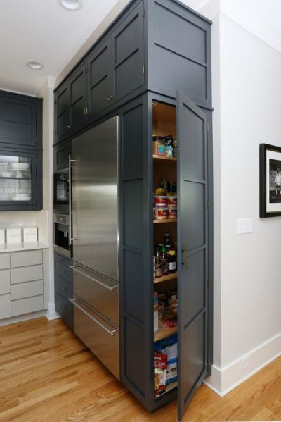 Dark gray cabinets with built in storage #kitchen #graycabinets #graypaint #graykitchencabinets #homedecor #decoratingideas #decorhomeideas