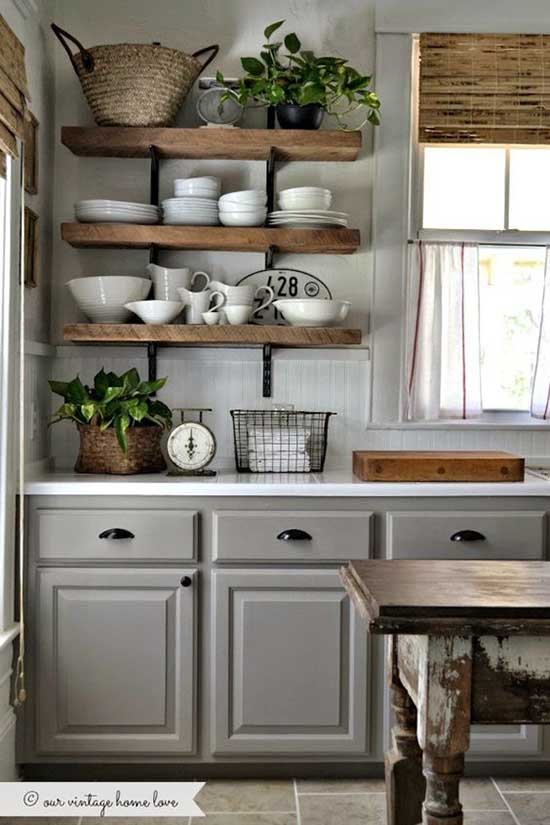 Farmhouse gray kitchen cabinets and shelves #kitchen #graycabinets #graypaint #graykitchencabinets #homedecor #decoratingideas #decorhomeideas