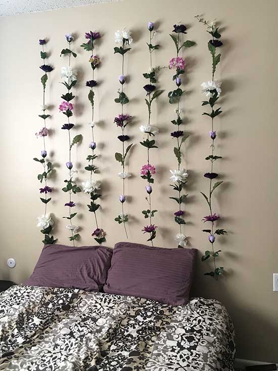 Floating flower bedroom headboard #bedroom #decor #diy #girl #teen #headboard