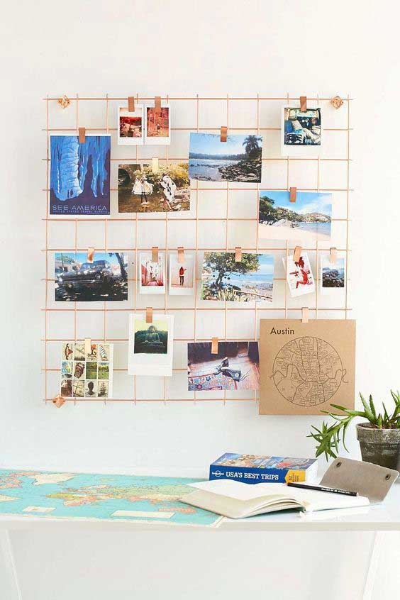 Golden wire wall grid shelf #teen #bedroom #decor #storage #decoration