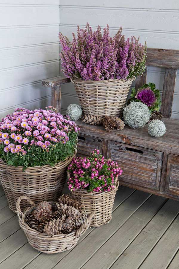 Rattan baskets as a flower pot ideas for lavender and collectibles #flowerpot #planter #gardens #gardenideas #gardeningtips #decorhomeideas