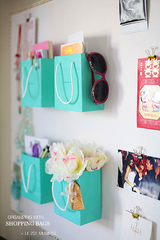 Organizing with shopping bags teen bedroom decor #teen #organization #storage #bedroom #diy