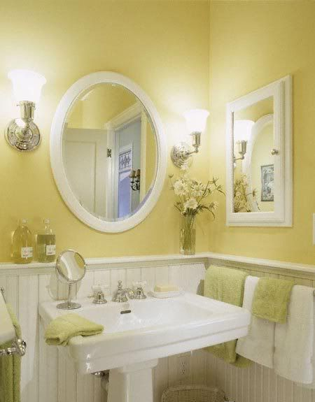 Pale yellow no window small bathroom. #bathroom #bathroomdesign #bathroomideas #bathroomreno #bathroomremodel #decorhomeideas #yellow #paint