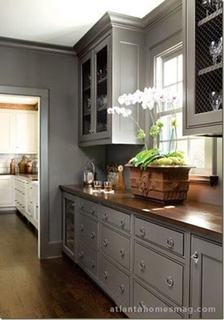 Rustic kitchen gray cabinets #kitchen #graycabinets #graypaint #graykitchencabinets #homedecor #decoratingideas #decorhomeideas