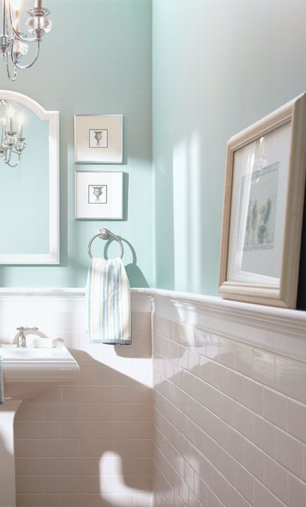 Seafoam green painted bathroom with no windows. #seafoam #bathroom #bathroomdesign #bathroomdecor #decorhomeideas