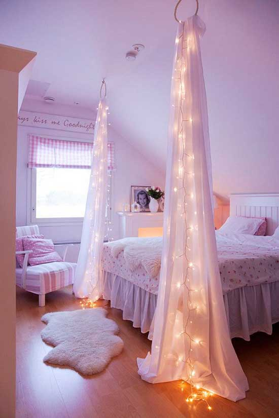 Starry night string light bed decor #starrynight #bed #bedroom #teen #girl #girly #decor #diy