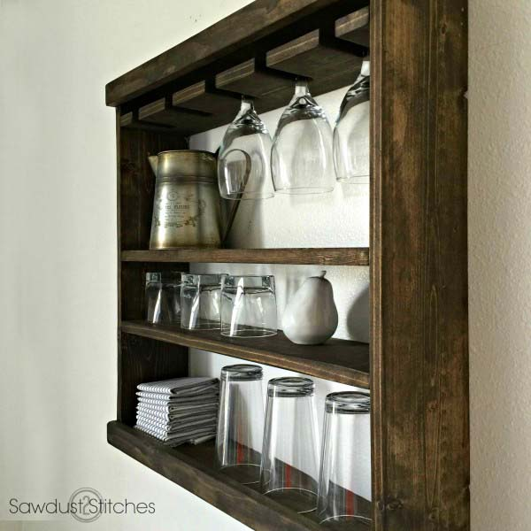 DIY farmhouse wooden glass rack #farmhouse #farmhousedecor #storage #organization #farmhousestorage #rack #decorhomeideas