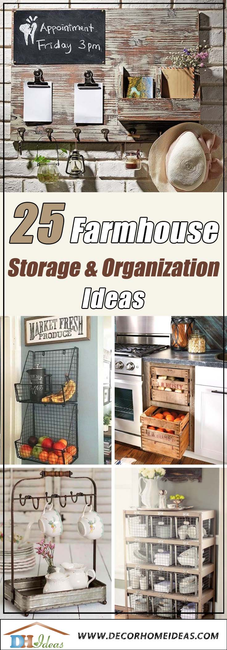 25 Farmhouse Kitchen Storage Organization Ideas #farmhouse #farmhousedecor #storage #organization #farmhousestorage #decorhomeideas