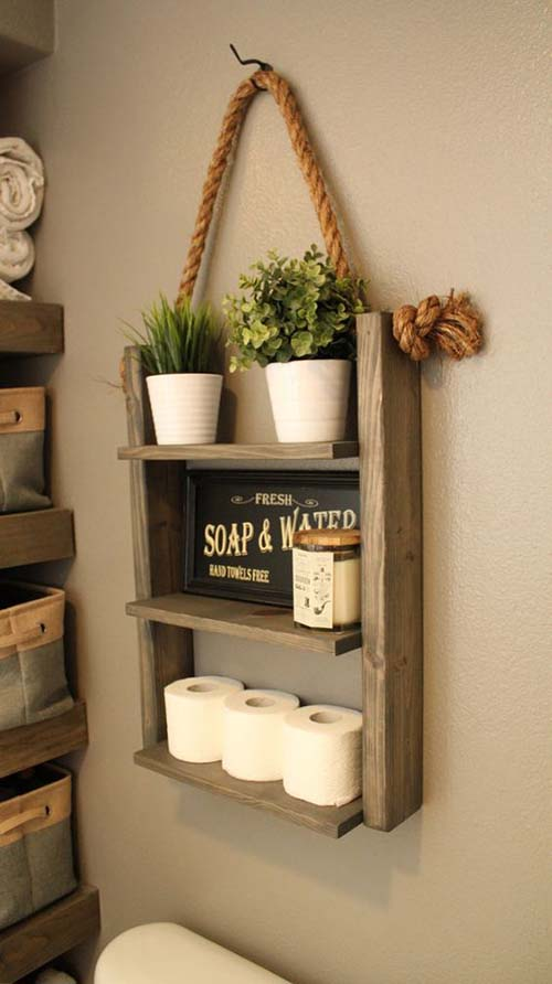 Farmhouse ladder shelf with rope #farmhouse #farmhousedecor #storage #organization #farmhousestorage #decorhomeideas